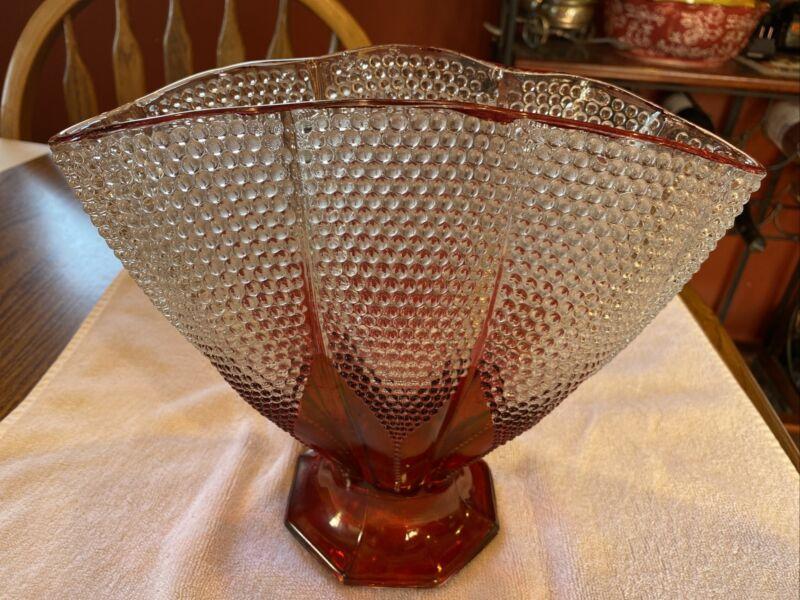 Ruby Flashed Fan Vase