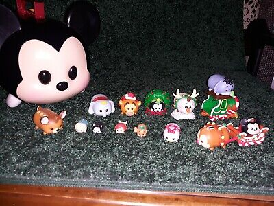 TSUM TSUM Mickey Mouse Carry Case lot 13 vinly figures from advent calendar olaf
