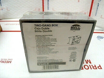 Bell Hubbell 5345-0 Two Gang Weatherproof Box 34 Hub 5 Inlets New Sealed