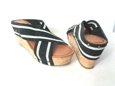 Crown Vintage 9M Anthropologie Negro Blanco Elástico Deslizar Sandalias de Cuña