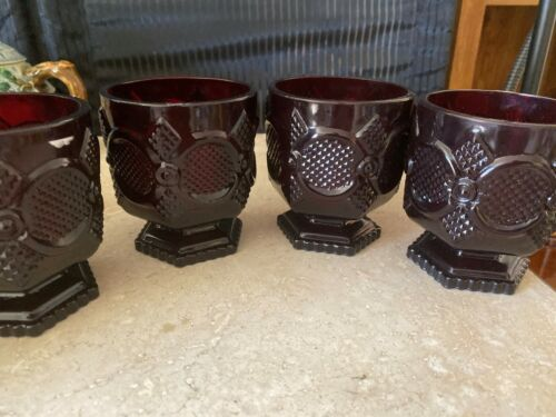 SET OF 4 VINTAGE~AVON~WATER GLASS ES 1876 CAPE COD~RUBY RED GLASS~RARE~RETIRED