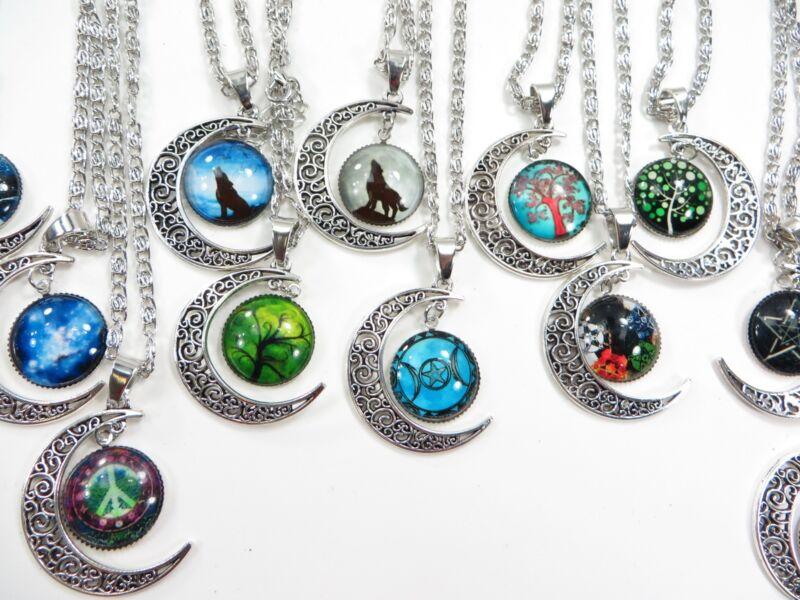 20 pieces wholesale accessory cabochon moon necklaces jewelry bulk lot