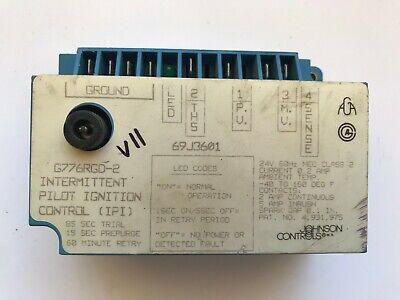 Johnson Controls G776rgd-2 Intermittent Pilot Ignition Control 69j3601 Used V11