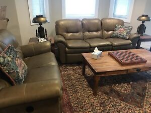 Lazy boy tan/light brown leather couches/recliners