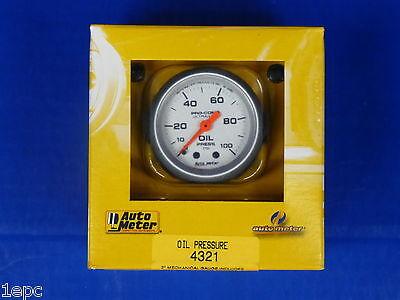 Auto Meter 4321 Ultra Lite Oil Pressure Gauge 0 - 100 PSI Mechanical 2 1/16