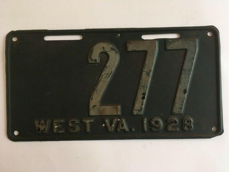 1928 West Virginia License Plate Low Number 3 Digit ALL ORIGINAL
