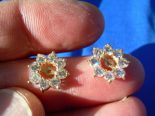 2 ct. Deco Designer Natural Diamond Earrings Jacket for Solitaire Studs 14k Gold