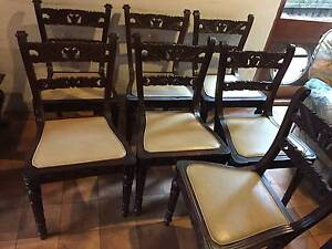 SET OF 7 BEAUTIFUL CARVED DINING CHAIRS Pymble Ku-ring-gai Area Preview
