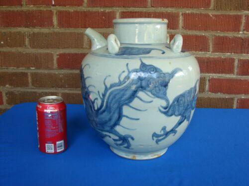 MING DYNASTY? LARGE ANTIQUE CHINESE BLUE & WHITE WATER JAR TEAPOT VASE DRAGON
