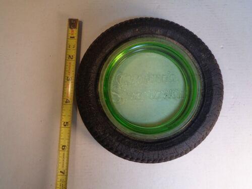 Antique Vintage Goodrich Silvertown Green Glass Tire Advertising Ashtray