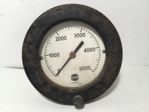 """Vintage Industrial Steampunk Pressure Gauge 5"""" Dia. 0-5000 U.S. GAUGE Co. #8990"""