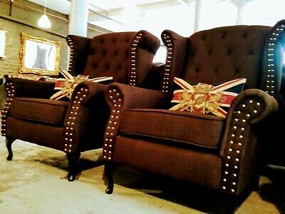 CLEARANCE Vintage Chesterfield Brown Fabric Wingback Armchair