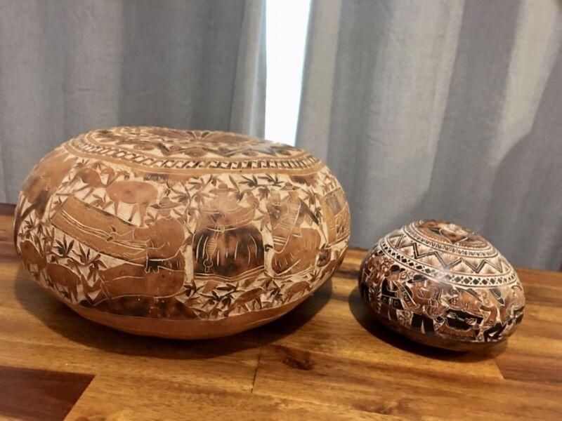 Pair Hand Carved Gourds Peru Tribal Musicians Animals Scene, Beautiful Folk Art