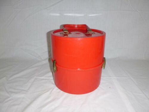 Vtg Mid Century Styling Plastics Bright RED Plastic Wig hat Box Case Round