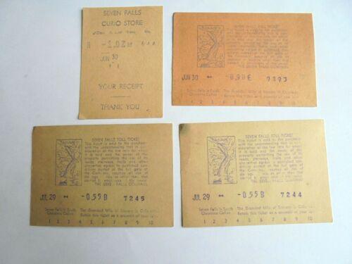 Vintage Seven Falls Colorado - 3 Toll Tickets & 1 Curio Shop Receipt