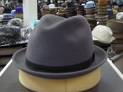 (KANGOL GREY FUR FELT FEDORA HAT)