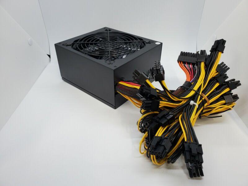 GPU Miner Power Supply PSU 1800W Crypto Mining ETH 16 6+2 PCIE US Seller!