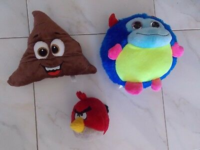 Stuffed Toys Poop Emoji Angry Birds and Blue Devil Creature