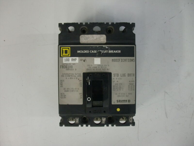 SQUARE D MOLDED CASE CIRCUIT BREAKER FA36100