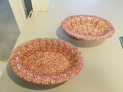 "2~Workshops of Gerald E Henn Oval Serving Bowl Vegetable 10"" Rare Cranberry Pink"