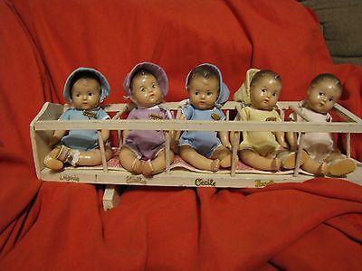 Vintage Madame Alexander Composition Dionne Quintuplet Dolls and Quintmobile