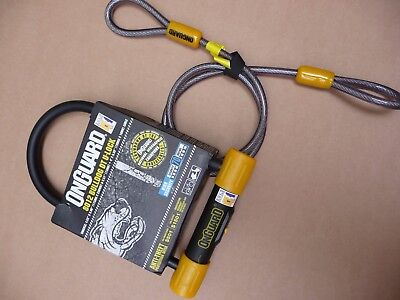 Onguard 8012 Bulldog U Lock D-Lock Sold Secure Silver Shackle lock and cable