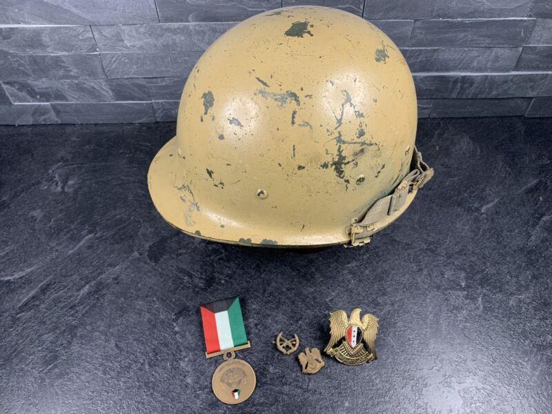 Iraqi M80 Helmet + Badges Lot Desert Storm 1991