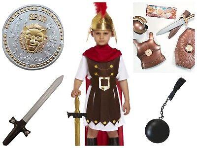 BOYS ROMAN GENERAL KIDS SPARTA SOLDIER FANCY DRESS 4-12 YEARS + OPT ACCESSORIES (Sparta Costumes)