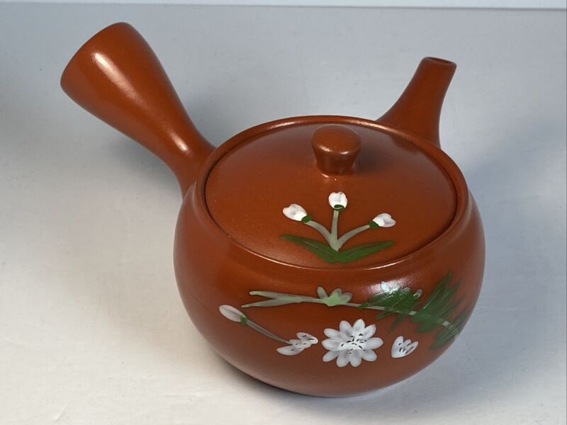 Red Clay Tea Pot Kyusu Style Vintage Hand Painted Blossom Japan
