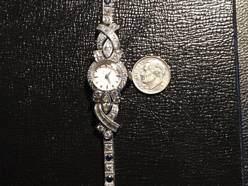 Ladies Hamilton Platinum Diamond And Sapphire Watch High Quality Running
