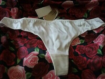 BNWT Womens Jenny Packham Size 16 Ivory Sexy Smooth Silk Thong Debenhams