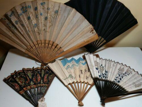 Old Asian Folding Fans - Lot of 5