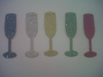 100 GLITTER CHAMPAGNE GLASSES FOR CARDS/TOPPERS