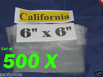 Lot Of 500 Pieces Heat Shrink Wrap Film Flat Bags 6x6 Candles Pvc 6 X 6