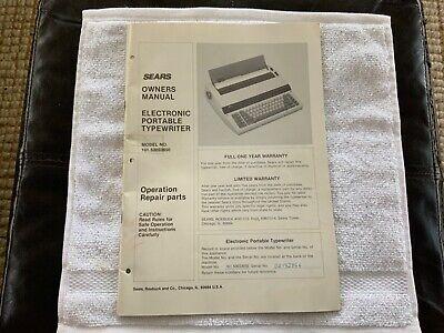 Sears Sr2000 Typewriter Owners Manual Model 161.53033650
