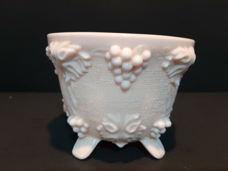 Pink Milk Glass 4 Footed Grape Pattern Sugar Candy Bowl Dish