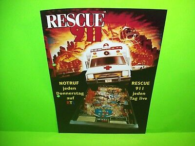 Gottlieb RESCUE 911 Original 1994 German Arcade Pinball Machine Promo Flyer Rare