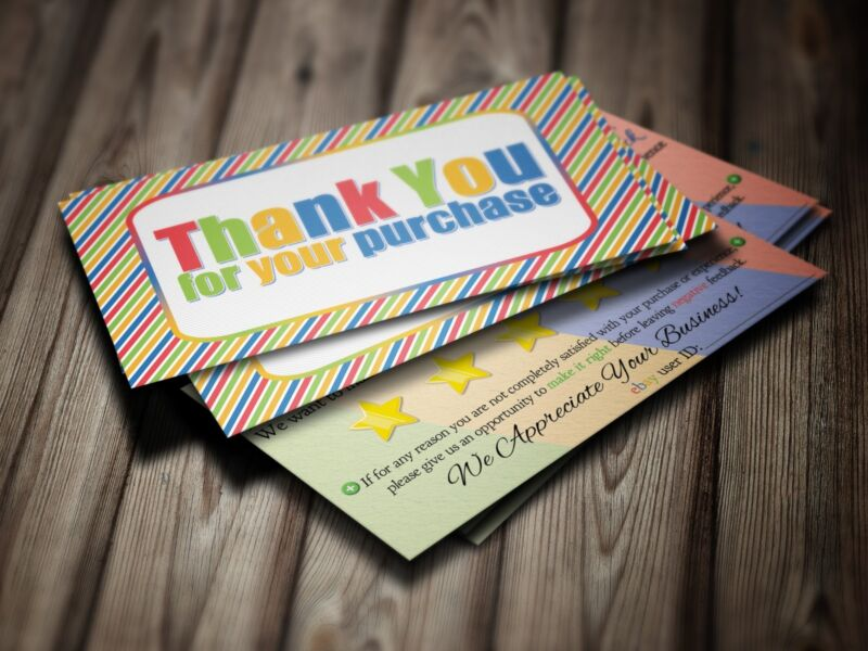 100 ebay Seller THANK YOU Business Cards 5 Five Star Rating COLORFUL Fun NEW
