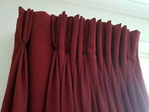 Beautiful handmade pleated curtains dark red 4 large window size