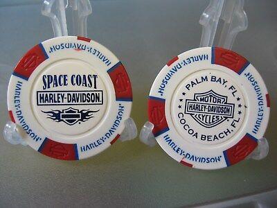 Chocolate Poker Chips (2 Harley Davidson Poker Chips Space Coast Palm Bay Cocoa Beach Florida / R-W &)