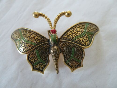 """Vintage gold tone large green/red butterfly brooch 2 3/4""""x1 1/2"""" made in SPAIN"""
