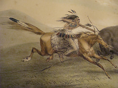 1840's BUFFALO HUNT, CHASE #5 by George CATLIN -- Native American Original Print