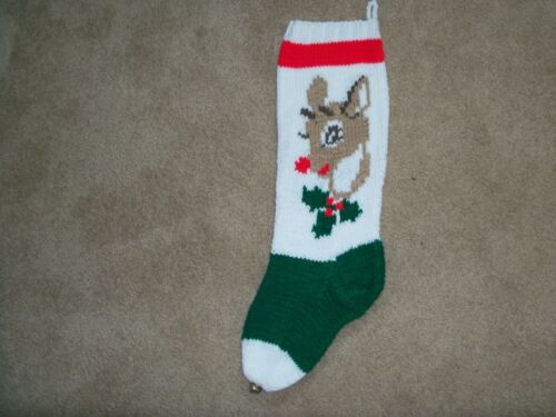 HAND KNITTED CHRISTMAS STOCKING RUDOLPH