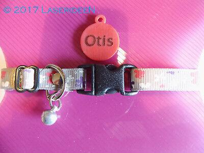 Katzen Tier Halsband mit Namensschild lasergarviert *SILVER BUTTERLY*