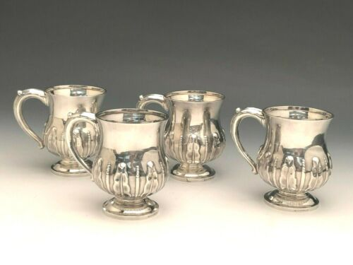 Beautiful set of 4 Sterling Silver Mugs, Hand Wrought, marked G.F. Ltd. Sterling