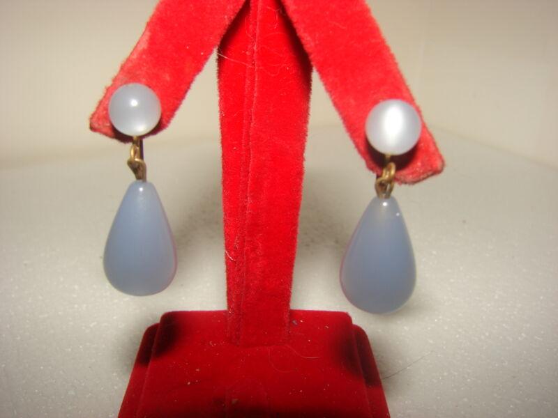 Vintage Opalescent Medium Blue Moon Glow Lucite Dangle Drop Screw Back Earrings