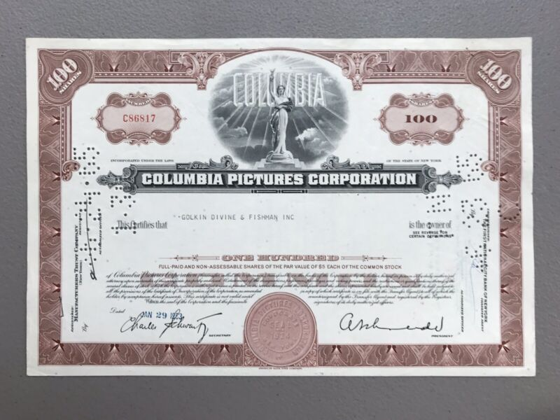 Columbia Pictures Stock Certificate **NO RESERVE**