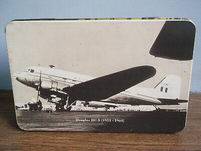 Rare vintage ALITALIA Airlines Douglas DC 3 Aircraft advertising tin box of 80's