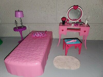 Barbie House Glam Dream Dollhouse Bedroom Vanity Chair Table Furniture Accessory