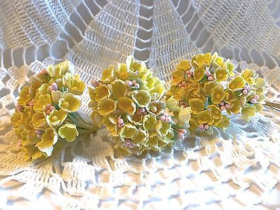 VINTAGE MILLINERY FORGET-ME-NOT FLOWERS YELLOW HAT DOLL CRAFT STEMS BOUQUET NOS